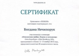 Богдана Нечипорук Сертифікат Психолог