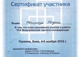 Богдана Нечипорук Сертифікат